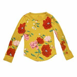 Play Condition Mustard Yellow Waffle Floral Print Tee